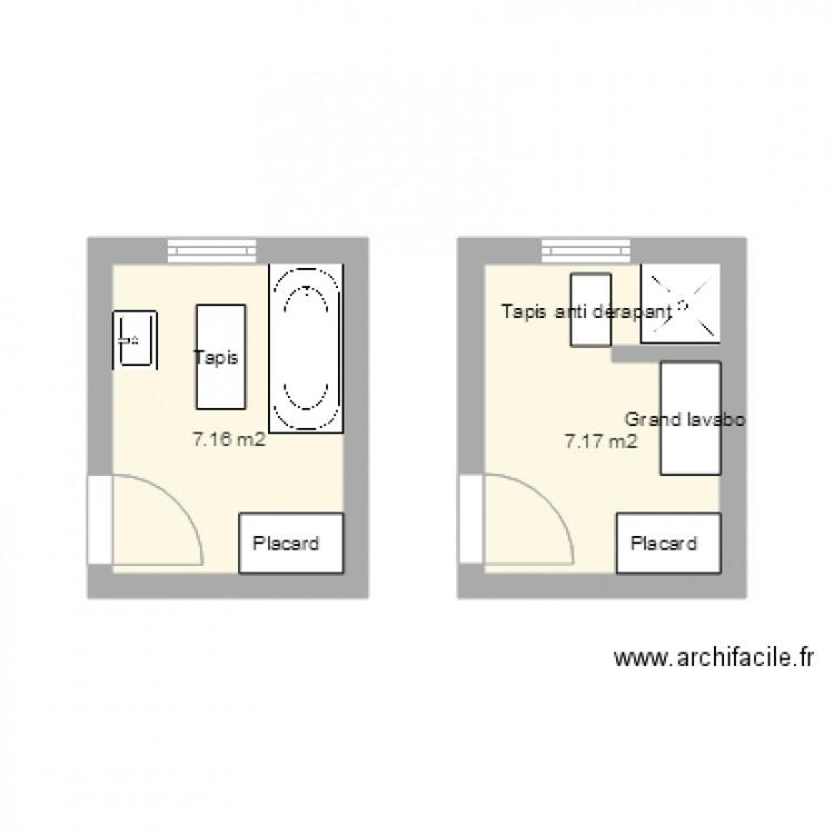 Salle de bain plan 4 pi ces 35 m2 dessin par paulinem42 for Salle de bain 4 m2