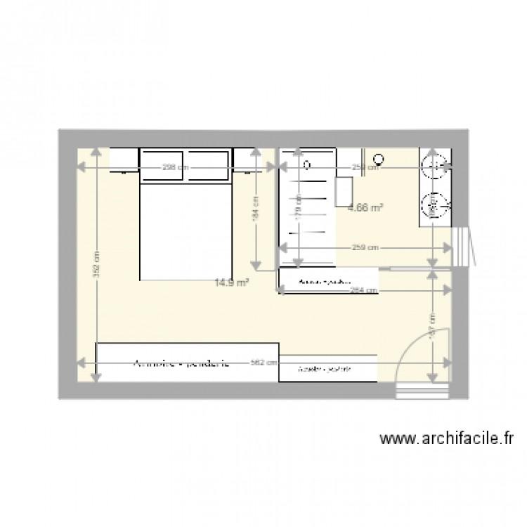 Suite parentale 2 plan 2 pi ces 20 m2 dessin par valcollomb for Plan suite parentale 18m2