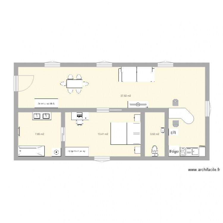 appartement 60m2 plan 4 pi ces 63 m2 dessin par mwiel25. Black Bedroom Furniture Sets. Home Design Ideas