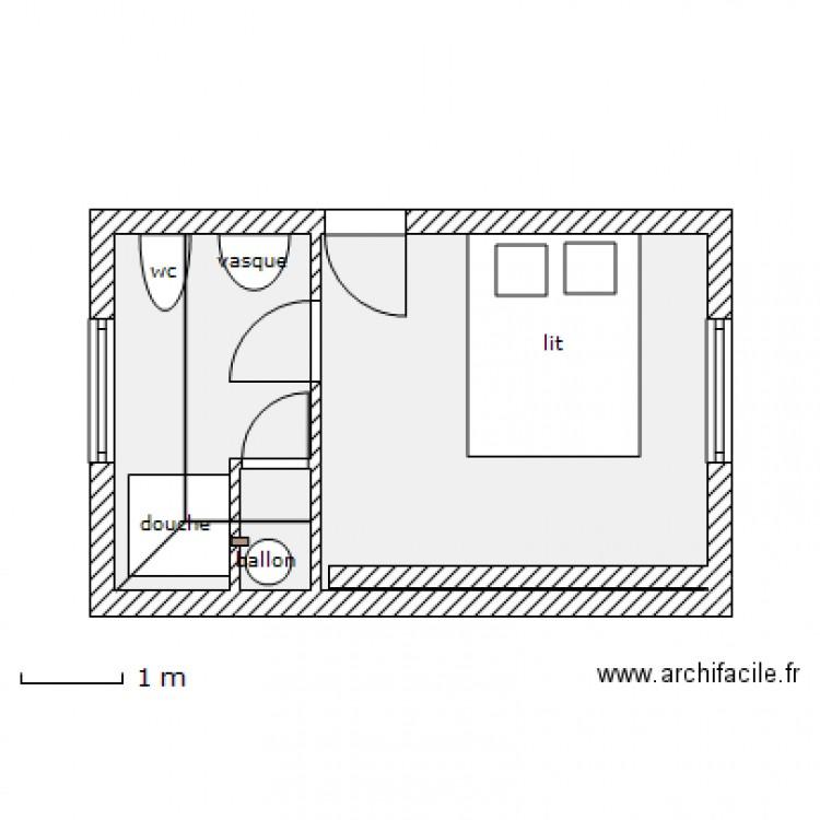 Chambre ouest salle d 39 eau alternatif plan 3 pi ces 19 m2 dessin par abmag - Plan de salle d eau ...