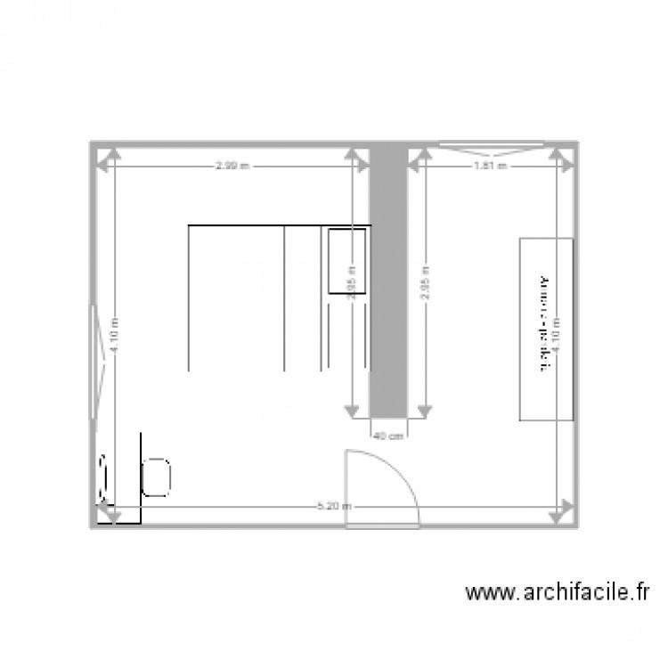 Chambre plan 1 pi ce 20 m2 dessin par nadj5 for Chambre one piece