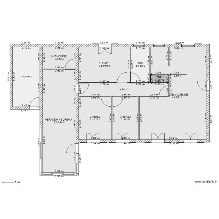 Plan extension maison plan de mettant en avant en biais for Extension maison facile