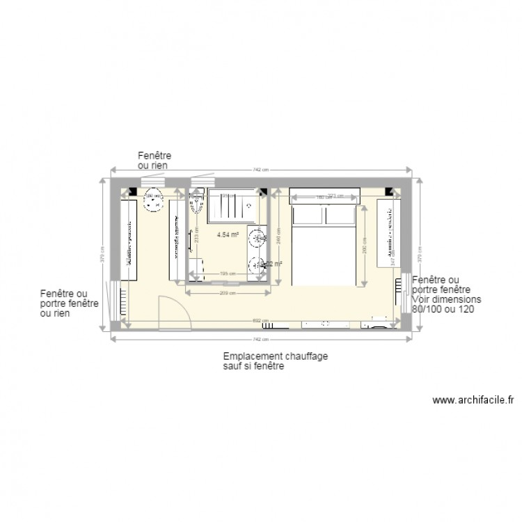 Chambre parentale dressing sdb chambre ac at plan 2 for Chambre sdb dressing