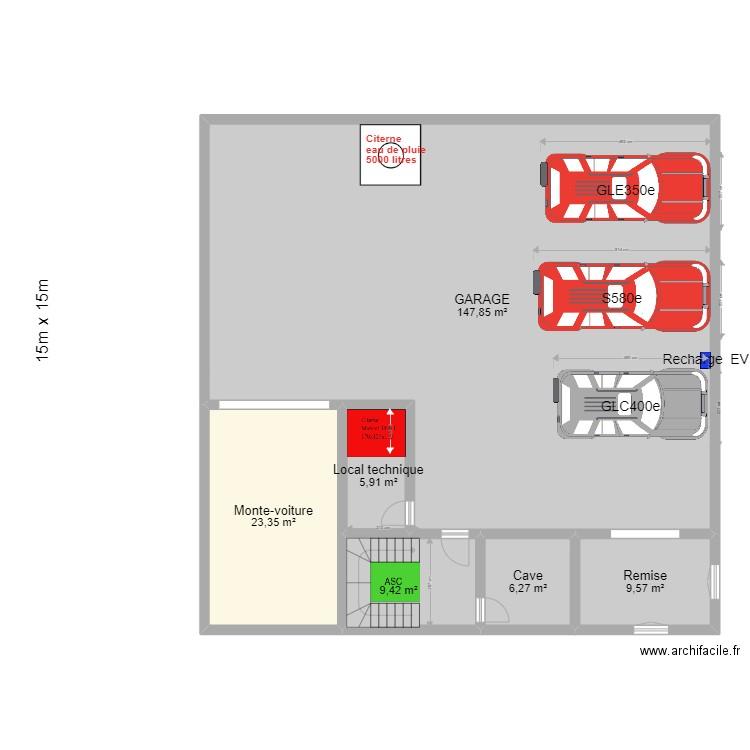 sous sol monte voiture plan 6 pi ces 200 m2 dessin par bhl. Black Bedroom Furniture Sets. Home Design Ideas