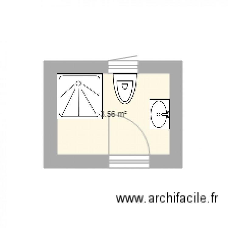 Salle de bain plan 1 pi ce 4 m2 dessin par seif fehri for Salle de bain 4 m2