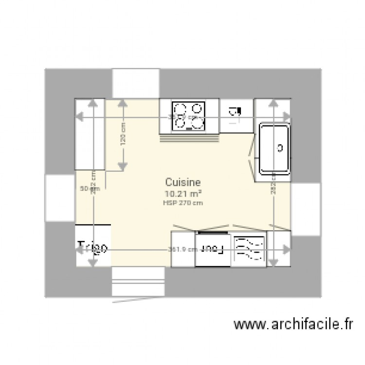 cuisine nouans plan 1 pi ce 10 m2 dessin par c. Black Bedroom Furniture Sets. Home Design Ideas
