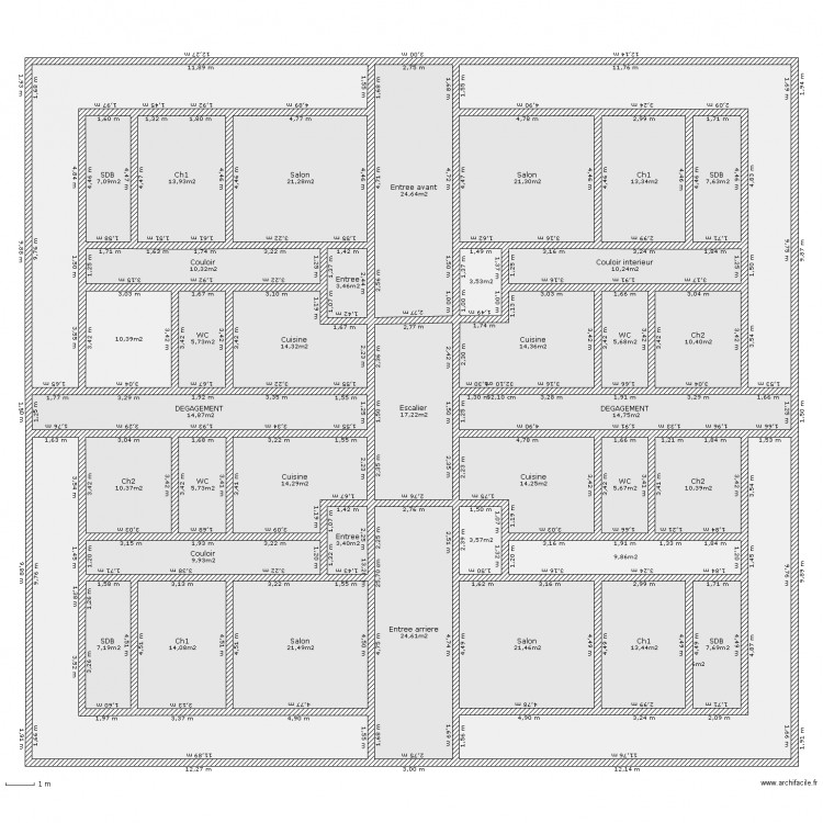 plan immeuble r 2 plan 41 pi ces 578 m2 dessin par esyben. Black Bedroom Furniture Sets. Home Design Ideas