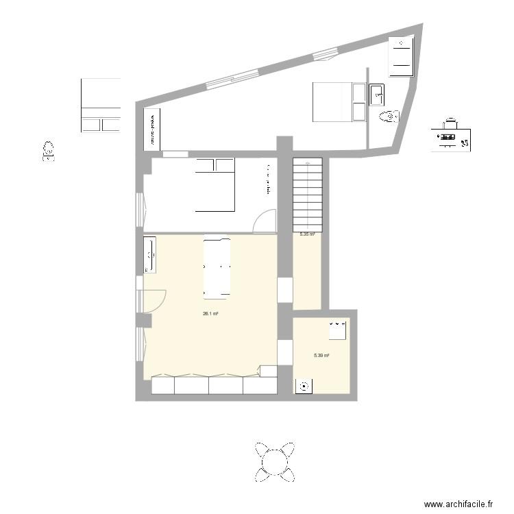 rez de chausse plan 3 pi ces 37 m2 dessin par jriols. Black Bedroom Furniture Sets. Home Design Ideas