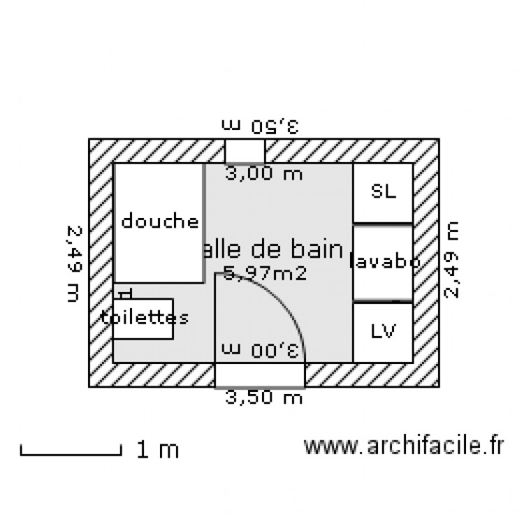 Salle de bain petite fenetre plan 1 pi ce 6 m2 dessin par cha29 - Petite salle de bain plan ...