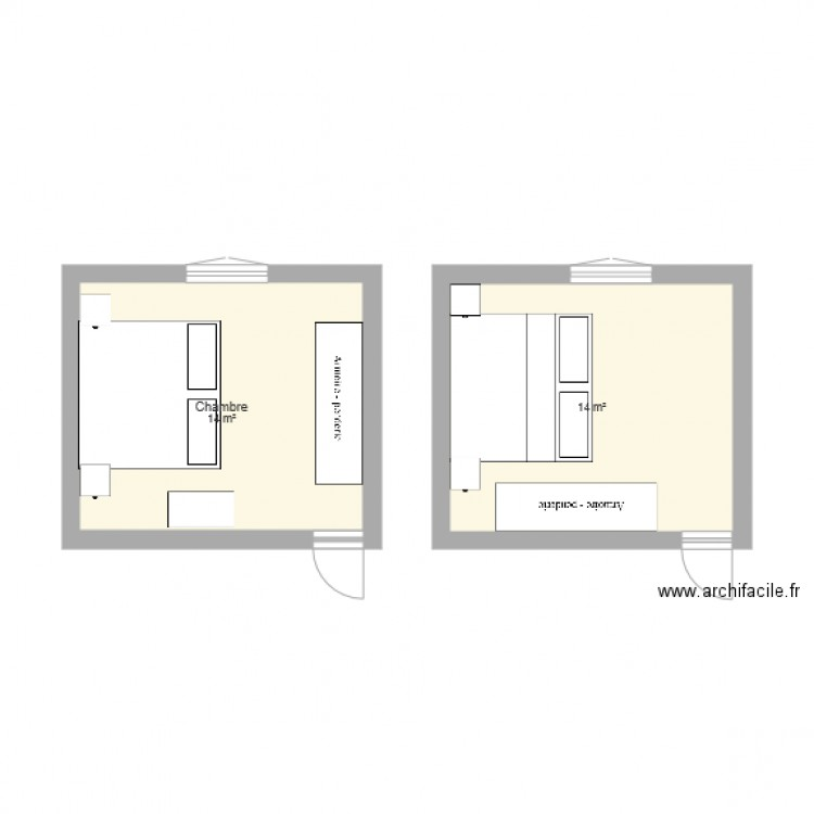 chambre coucher plan 2 pi ces 28 m2 dessin par. Black Bedroom Furniture Sets. Home Design Ideas