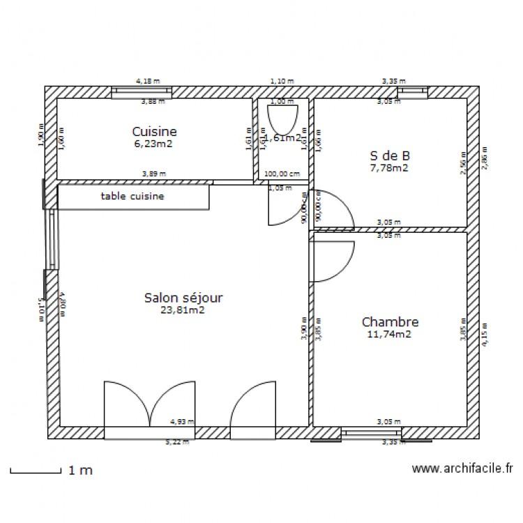 Maison t2 sud plan 5 pi ces 51 m2 dessin par jc17 for Plan de maison 5 pieces