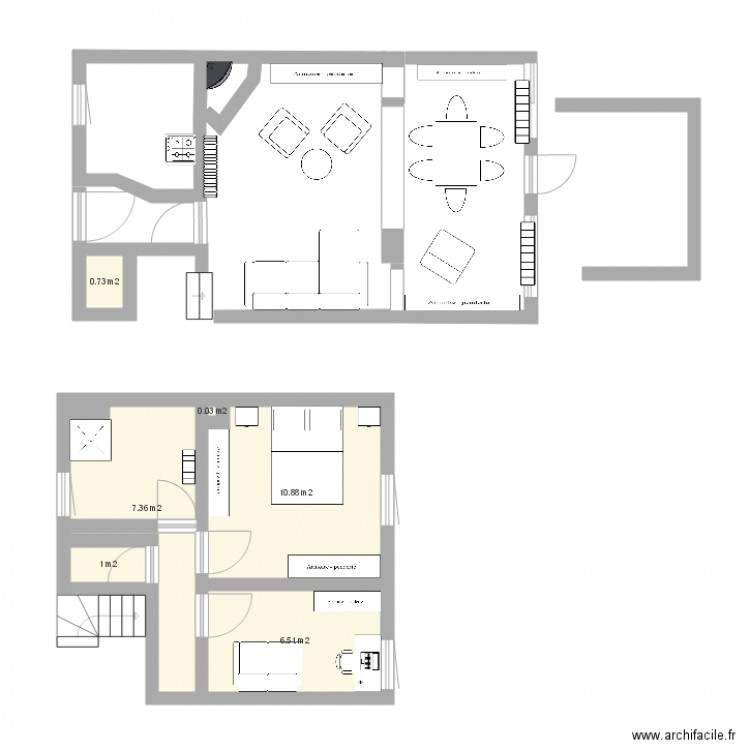 Maison cotation juste plan 6 pi ces 27 m2 dessin par for Plan maison avec cotation