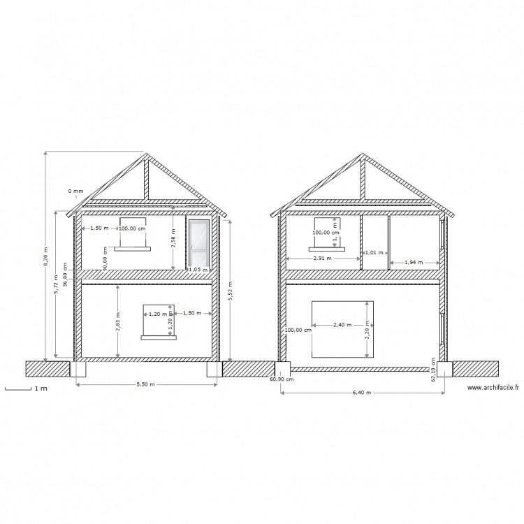 Coupe profil maison plan 1 pi ce dessin par lecantilien - Plan coupe facade maison ...