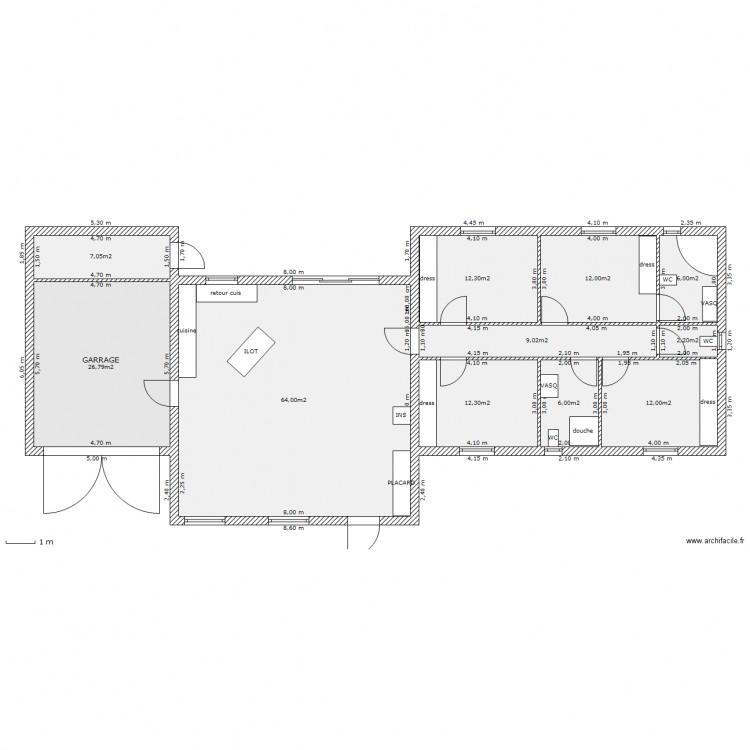 Maison en bois david plan 11 pi ces 170 m2 dessin par for Agrandissement maison 170 m2