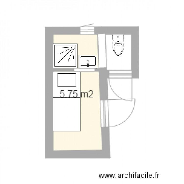 Chambre 1er tage avec coin douche plan 1 pi ce 6 m2 for Plan pour amenager une petite salle de bain