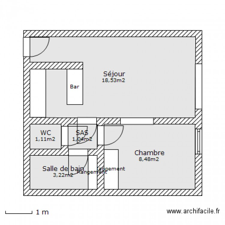 Appartement plan 5 pi ces 32 m2 dessin par fallonmyway - Plan appartement 30 m2 ...