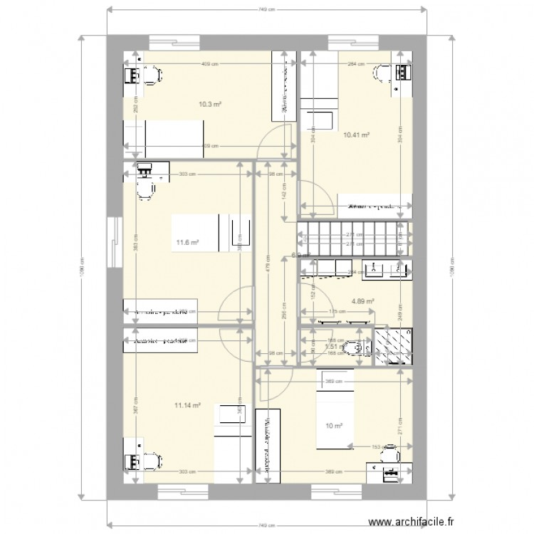 Smh study test 2 plan 17 pi ces 134 m2 dessin par gio81 for Cabine douche study