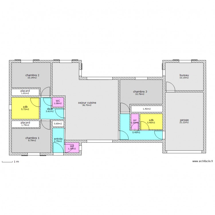 plain pied plan 18 pi ces 130 m2 dessin par ht2c c. Black Bedroom Furniture Sets. Home Design Ideas