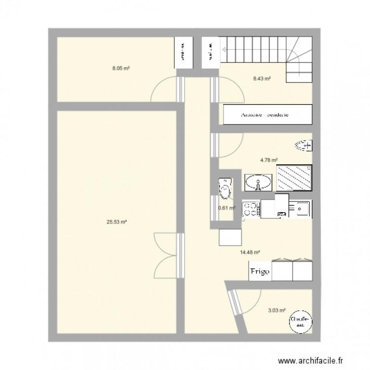 Chevreuse plan 7 pi ces 65 m2 dessin par mastermind for Plan 65