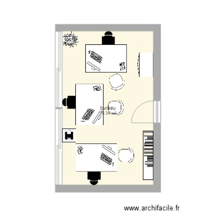Bureau mda plan 1 pi ce 18 m2 dessin par kisskool007 for Bureau petite taille