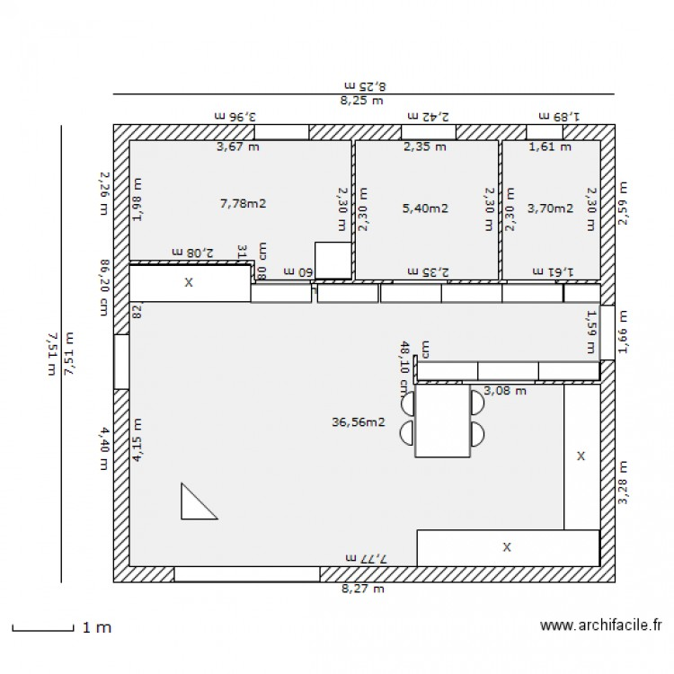 55m expo ikea plan 4 pi ces 53 m2 dessin par polocox. Black Bedroom Furniture Sets. Home Design Ideas