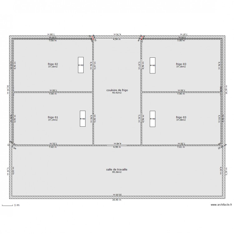 entrepot frigorifique plan 8 pi ces 291 m2 dessin par sogicom project. Black Bedroom Furniture Sets. Home Design Ideas