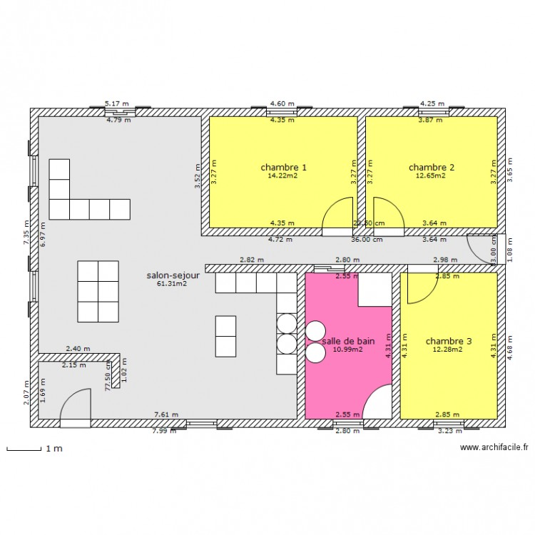 Fabulous Maison Rectangle Plan De Pices Et M With Plan