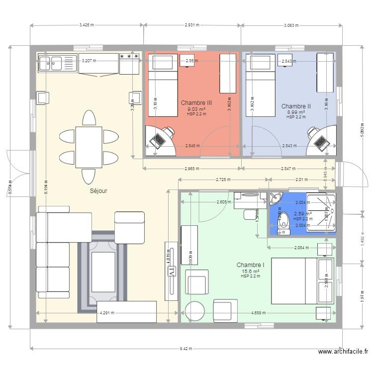 Villa basse - Plan 5 pièces 72 m2 dessiné par Scaletta86