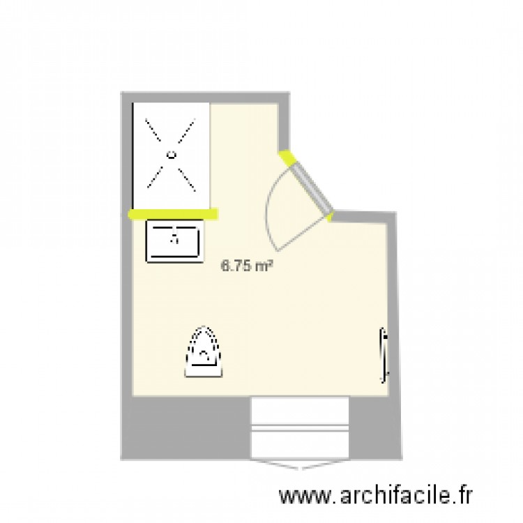 salle de bains b plan 1 pi ce 7 m2 dessin par philippe grosperrin. Black Bedroom Furniture Sets. Home Design Ideas