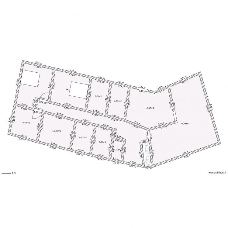 Maison plain pied en v plan 13 pi ces 167 m2 dessin par florence51 - Plan maison en v plain pied ...
