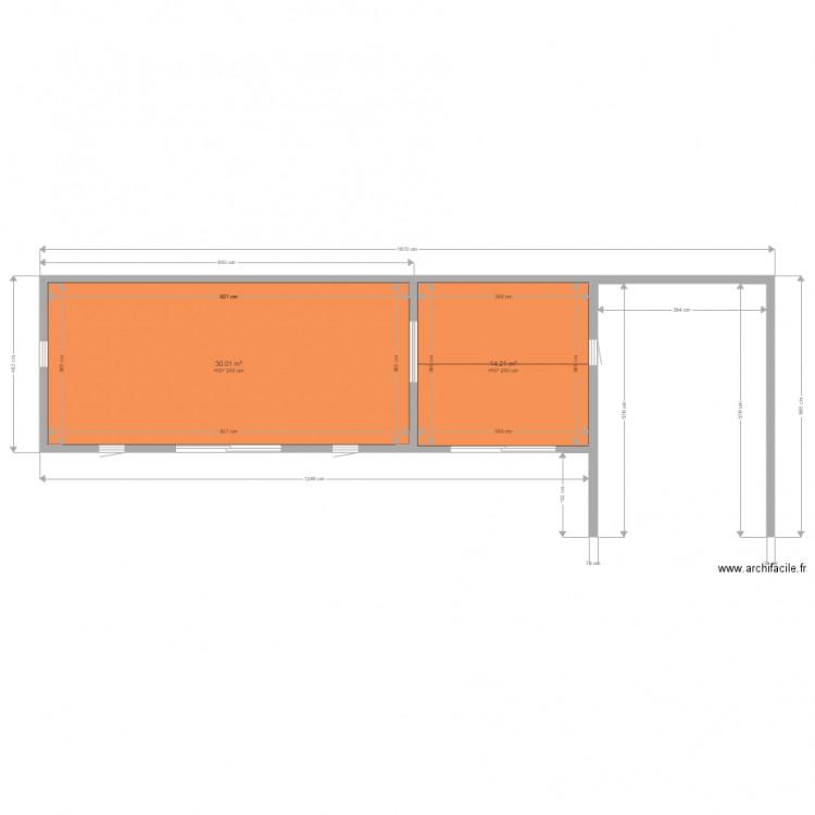abri de jardin et dependance avec pergolas plan 2 pi ces 44 m2 dessin par willyguillet. Black Bedroom Furniture Sets. Home Design Ideas