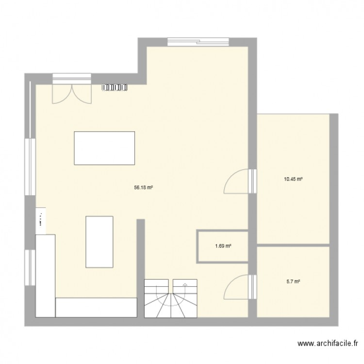 maison vide avec escalier plan 4 pi ces 74 m2 dessin par lestrom06. Black Bedroom Furniture Sets. Home Design Ideas