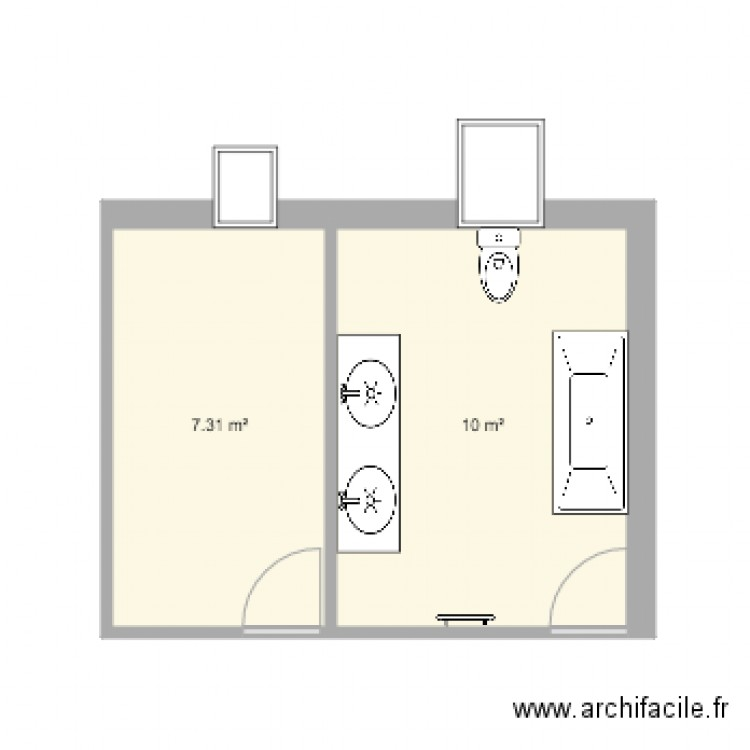 salle de bain avant plan 2 pi ces 17 m2 dessin par benoit1707. Black Bedroom Furniture Sets. Home Design Ideas