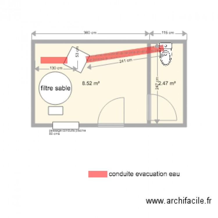 Plan local piscine plan 2 pi ces 11 m2 dessin par tracker33 for Plan local piscine