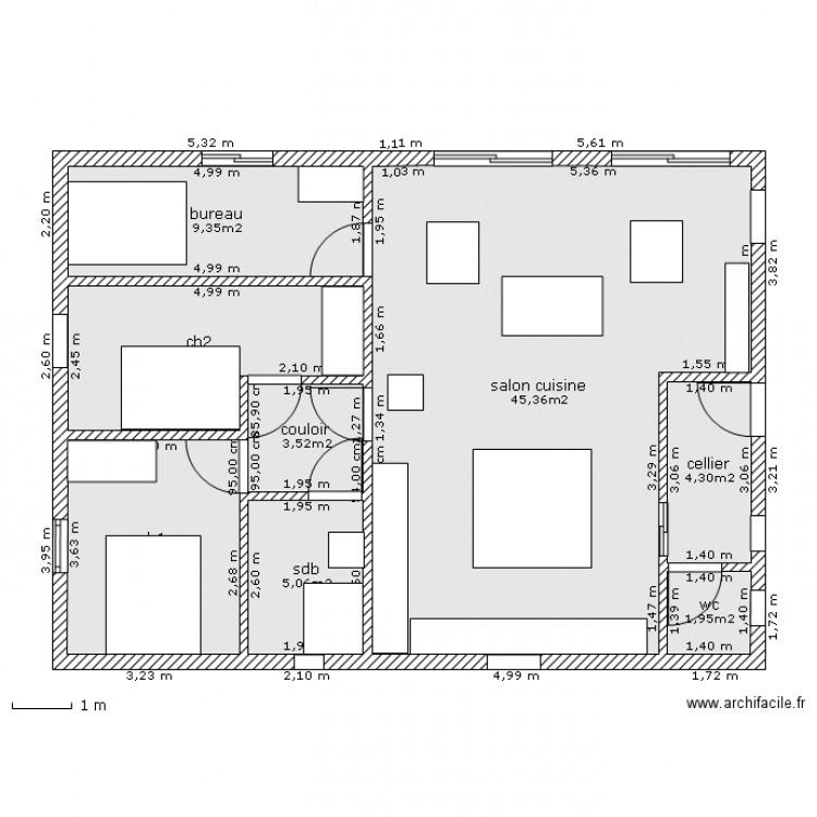 Plan maison 90m2 plain pied images for Plan maison t4 plain pied