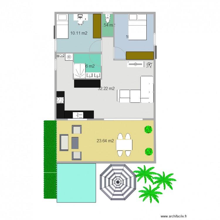 plan petite maison plan 6 pi ces 82 m2 dessin par floggy26. Black Bedroom Furniture Sets. Home Design Ideas