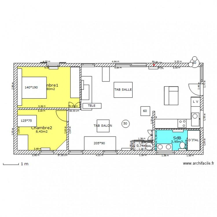 Rdec 70m2 plan 4 pi ces 24 m2 dessin par casamance for Plan maison 70m2