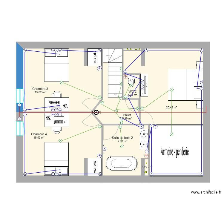 Combles am nag s plan 6 pi ces 72 m2 dessin par wolfscream14 for Plan combles amenages