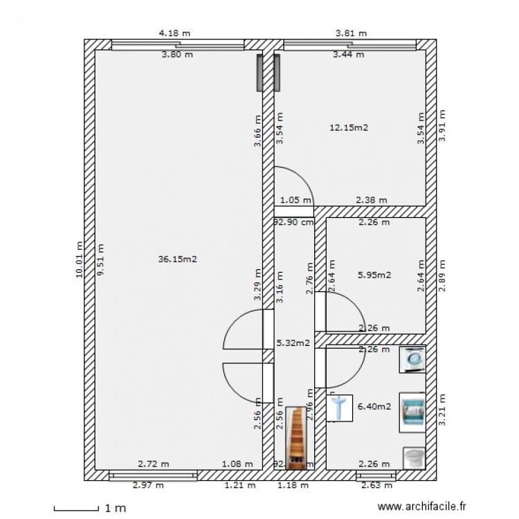 1er 10m 8m 140405 plan 5 pi ces 66 m2 dessin par vandensteen. Black Bedroom Furniture Sets. Home Design Ideas