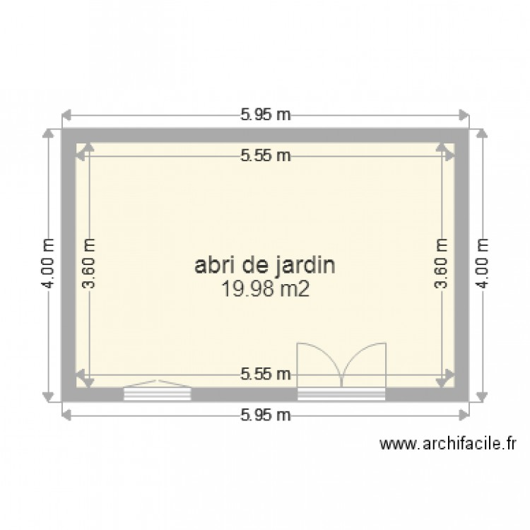 terrasse sur abri de jardin 01 plan 1 pi ce 20 m2 dessin par abdzi. Black Bedroom Furniture Sets. Home Design Ideas