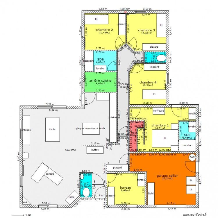 Maison id ale plan 14 pi ces 165 m2 dessin par marierod - Maison ideale ...