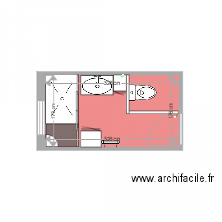 salle de bain 4 plan 1 pi ce 6 m2 dessin par alainbone. Black Bedroom Furniture Sets. Home Design Ideas