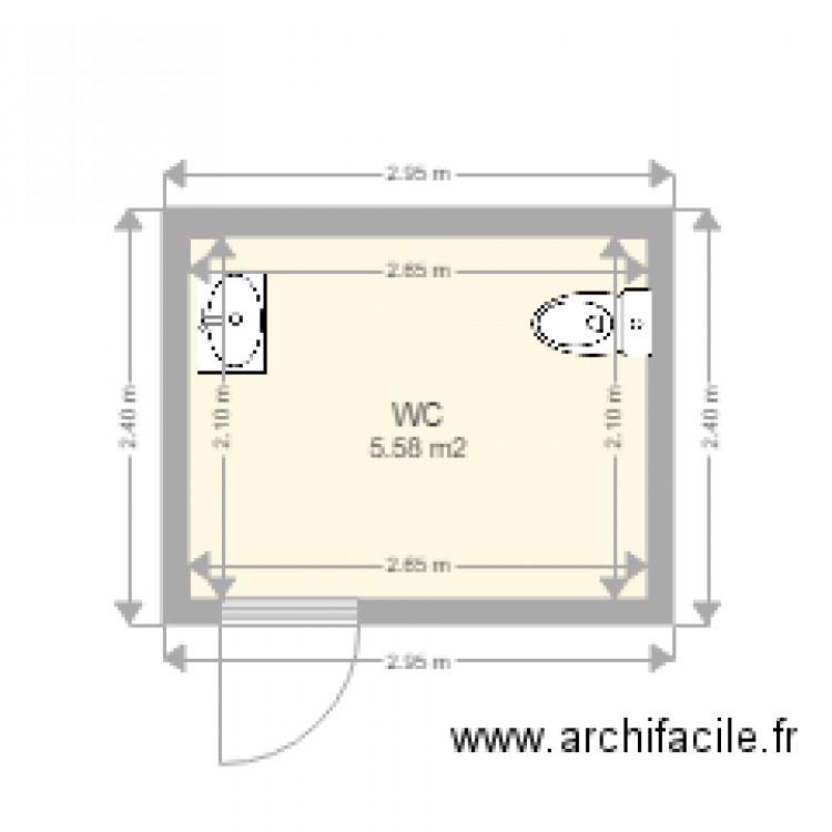 Extraordinaire toilette handicapé - Plan 1 pièce 6 m2 dessiné par michel70 PT-09