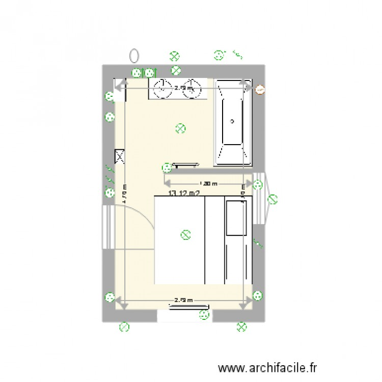 Transformer garage en habitation plan 1 pi ce 13 m2 dessin par fleuryanne - Transformer garage en piece ...