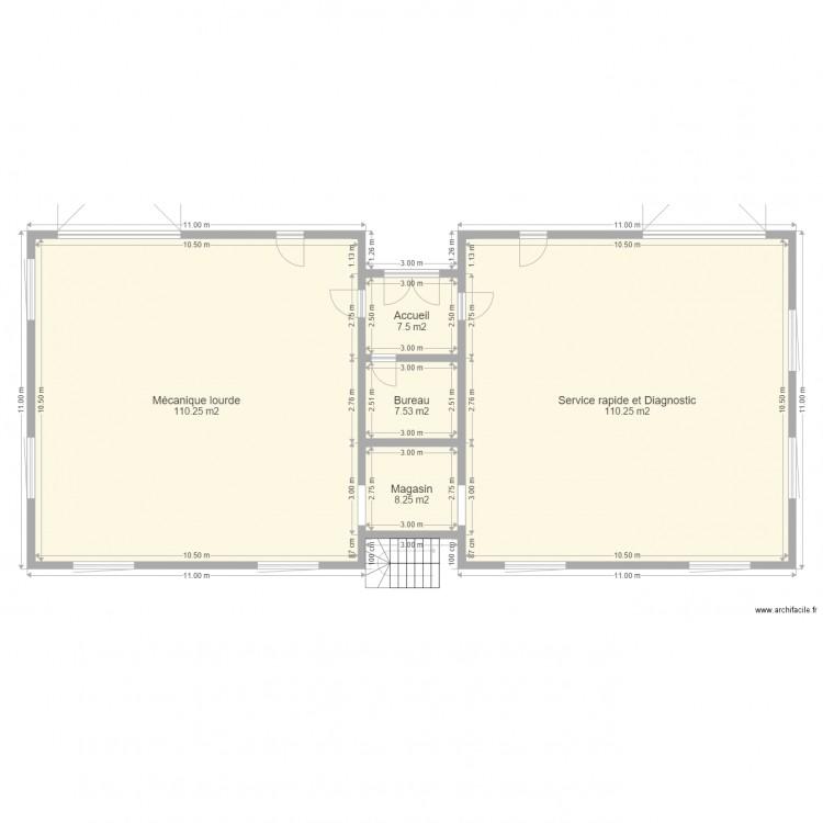 Garage m canique plan 5 pi ces 244 m2 dessin par mazoyer for Louer garage mecanique