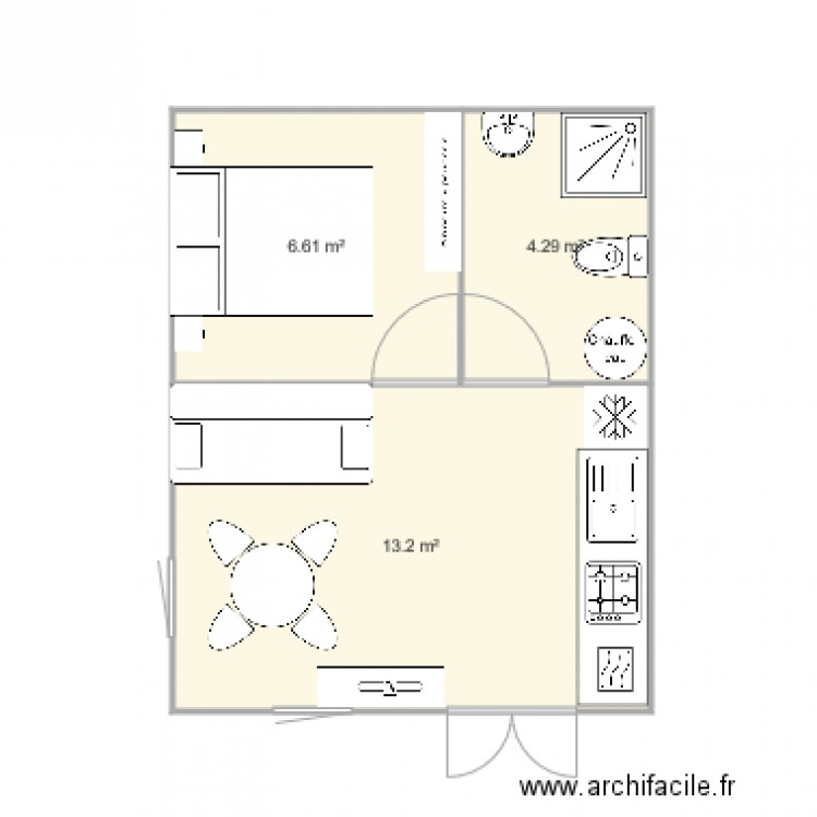 Chalet 25m2 v1 plan 3 pi ces 24 m2 dessin par fabr67 for Idee deco studio 30 m2
