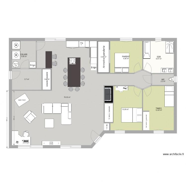 Maison plan 11 pi ces 140 m2 dessin par ninifamily for Plan maison 140m2