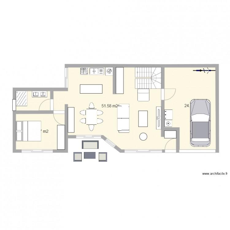 Plan rdc maison 2015 modele 2 plan 3 pi ces 87 m2 for Modifier plan maison