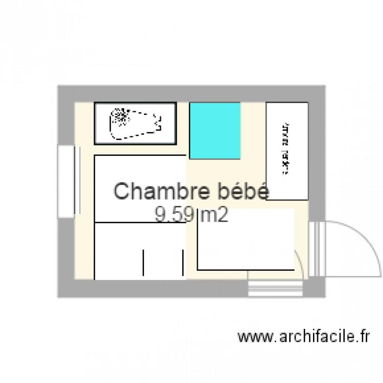 Chambre b b plan 1 pi ce 10 m2 dessin par jhennon for Chambre one piece