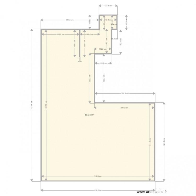 Carrelage plan 1 pi ce 58 m2 dessin par tyllq5 for Calcul m2 carrelage